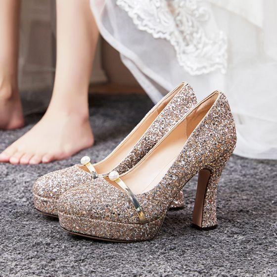 Glitter Roos Goud Bruidsschoenen 2020 Huwelijk Glans Pailletten Parel 11 cm Dikke Hak Vierkante Teen Pumps