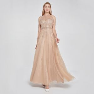 High-end Khaki See-through Dancing Prom Dresses 2020 A-Line / Princess Scoop Neck Sleeveless Beading Sequins Floor-Length / Long Ruffle Formal Dresses