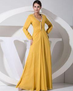 Chiffonseide Sicke V-ausschnitt Langarm Mutter Der Braut Kleid