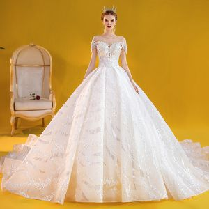 Chic / Beautiful White Bridal Wedding Dresses 2020 Ball Gown See-through Scoop Neck Backless Short Sleeve Beading Tassel Appliques Lace Pearl Sequins Royal Train Ruffle