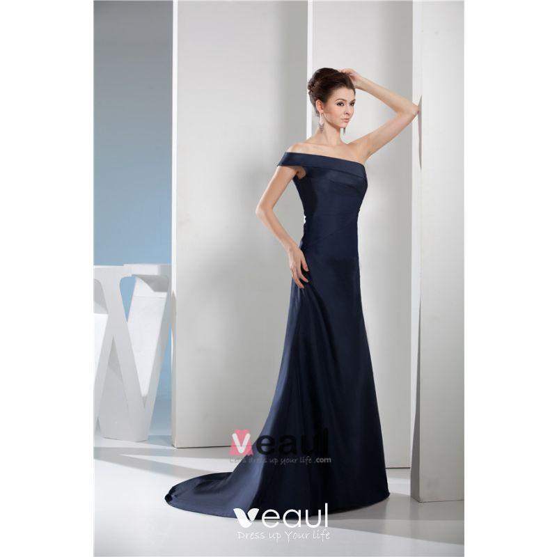 2015 Chic A Line One Shoulder Off The Shoulder Navy Blue Evening Dress