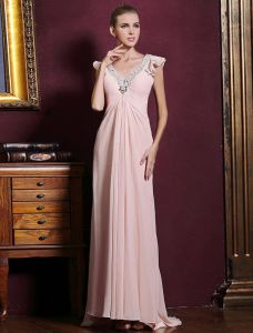 Elegant Deep V-neck Ruffle Pink Chiffon Maxi Evening Dress With Sequins