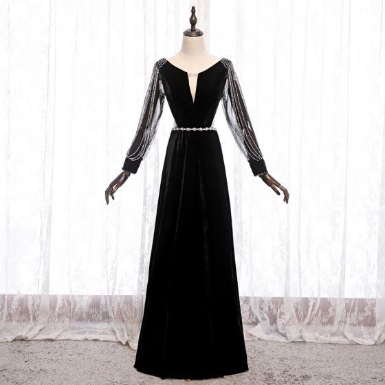 Prisvärd Svarta Velour Aftonklänningar 2020 Prinsessa Genomskinliga Djup v-hals Pösigt Långärmad Beading Skärp Svep Tåg Ruffle Halterneck Formella Klänningar