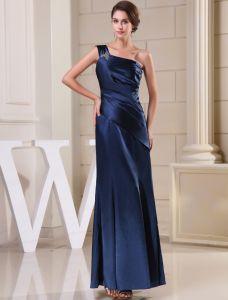 2015 Klassisch Einfach A-linie Einer Schulter Rüsche Langen Abendkleid