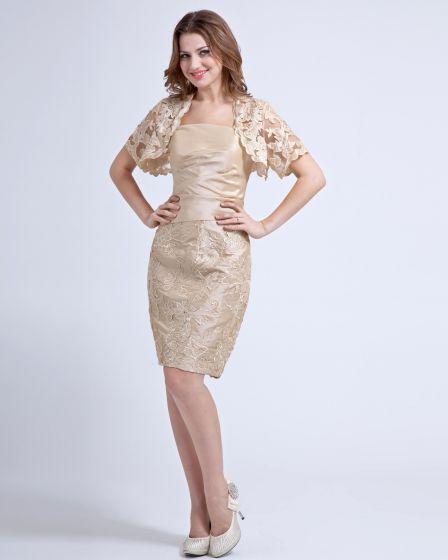 vestido de tafetán novia madre hasta la rodilla volantes de encaje
