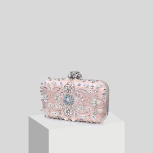 Mooie / Prachtige Blozen Roze Kralen Parel Rhinestone Handtassen 2019