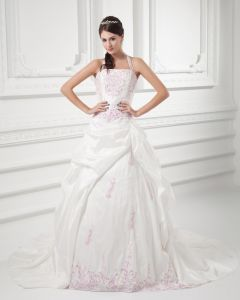 Taffeta Embroidered Halter Court Train Ball Gown Wedding Dress