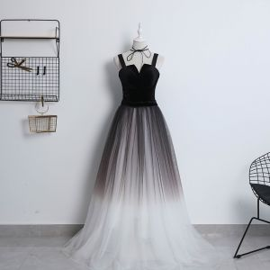Modern / Fashion Black Gradient-Color Ivory Prom Dresses 2018 A-Line / Princess Shoulders Sleeveless Floor-Length / Long Ruffle Backless Formal Dresses