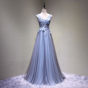 Chic / Beautiful Black Sky Blue Prom Dresses 2017 A-Line / Princess V-Neck Sleeveless Crossed Straps Appliques Flower Backless Beading Floor-Length / Long Formal Dresses