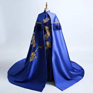 Chinesischer Stil Königliches Blau Kathedrale Schleppe Abendkleider 2018 Mermaid Stehkragen Mit Umhang Stickerei Charmeuse Abend Festliche Kleider