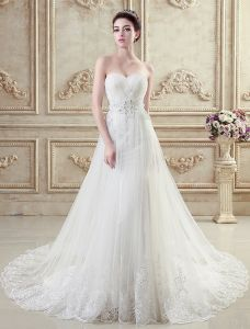 Mermaid Sweetheart Appliques Lace Sash Beading Crystal Tulle Long Trailing Wedding Dress