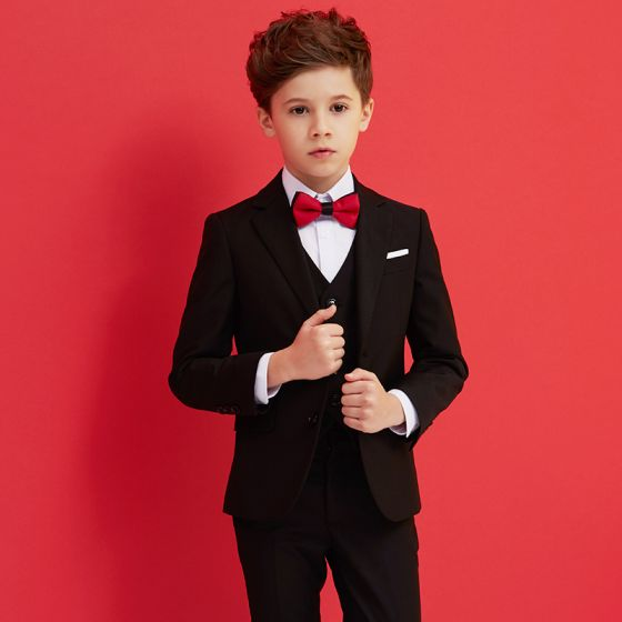 Proste / Simple Czerwone Krawat Czarne Boys Wedding Suits 2018