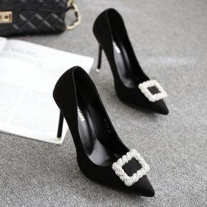 Hermoso Negro 2017 PU Oficina Rebordear Rhinestone Noche Zapatos De Mujer