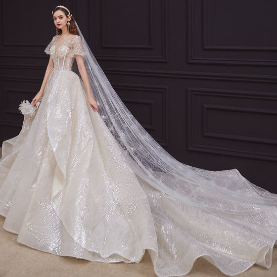 Victorian Style Champagne Bridal Wedding Dresses 2020 Ball Gown See-through Scoop Neck Puffy Short Sleeve Backless Beading Appliques Lace Sequins Cathedral Train Ruffle