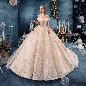 Bling Bling Champagne Wedding Dresses 2019 Ball Gown Off-The-Shoulder Short Sleeve Backless Appliques Lace Sequins Glitter Tulle Chapel Train Ruffle