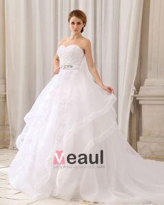 Elegant Fast Skiktad Midja Rhinestone Axelbandslos Dragkedja Bak Bow Domstol Tag Organza Spets Balklänning Brudklänningar Bröllopsklänningar
