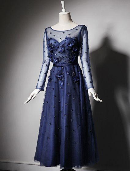 2016 Beautiful A-line Scoop Neck Tea Length Applique Flower Sequin Royal Blue Tulle Party Dress With Sash