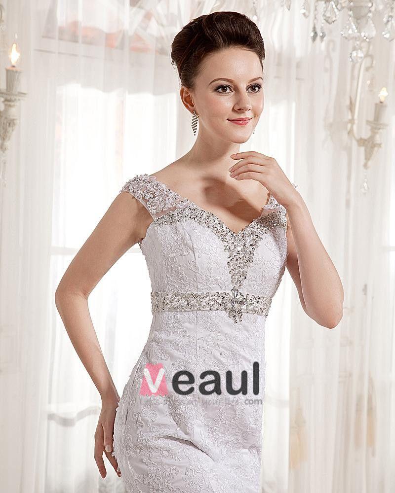 Lace V Neck Court Mermaid Bridal Gown Wedding Dress