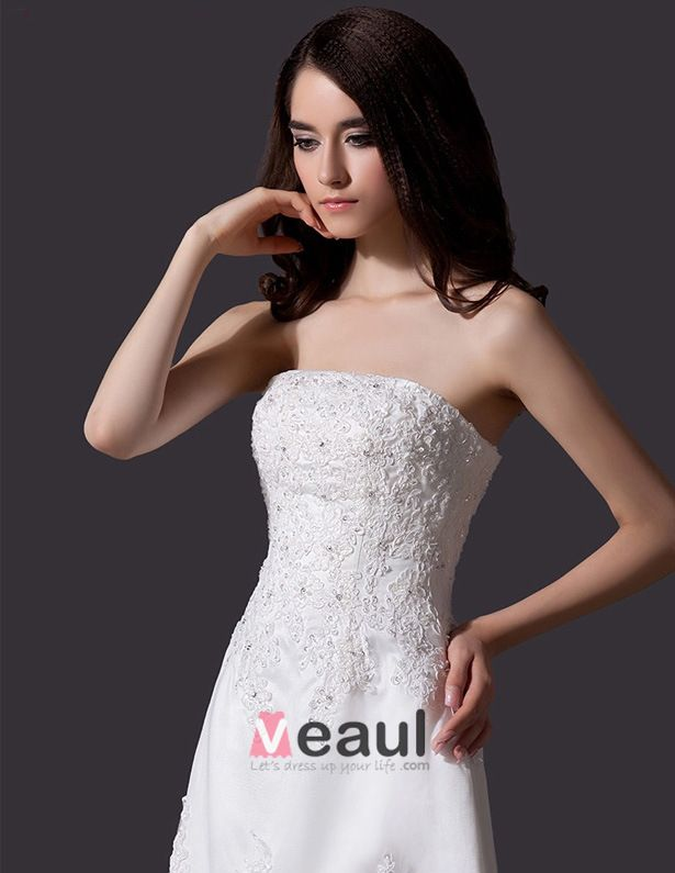2015 Classic Beading Rhinestone Embroidered Lace Tulle Short Beach Wedding Dress