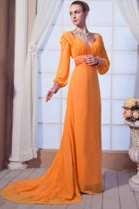 2015 A-line Long Sleeve Sweep Train long Evening Dresses
