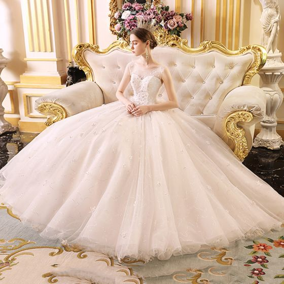 Chic / Beautiful Ivory See-through Outdoor / Garden Wedding Dresses 2019 A-Line / Princess Scoop Neck Sleeveless Backless Appliques Flower Beading Glitter Tulle Floor-Length / Long