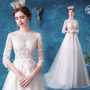 Affordable Ivory Wedding Dresses 2020 A-Line / Princess Scoop Neck Lace Flower 3/4 Sleeve Court Train