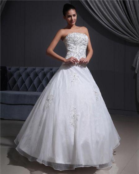 2a5a3708fe Koraliki Organzy Aplikacja Satyna Długosc Podlogi Bez Ramiaczek Suknia  Balowa Suknie Ślubne Sukienki Ślubne