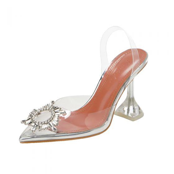 Przezroczysty Srebrny Zużycie ulicy Slingback Sandały Damskie 2020 Rhinestone 9 cm Szpilki Szpiczaste Sandały