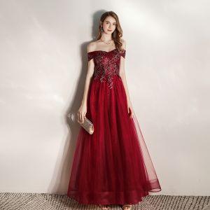 Elegant Burgundy Evening Dresses  2020 A-Line / Princess Off-The-Shoulder Short Sleeve Glitter Tulle Beading Floor-Length / Long Ruffle Backless Formal Dresses