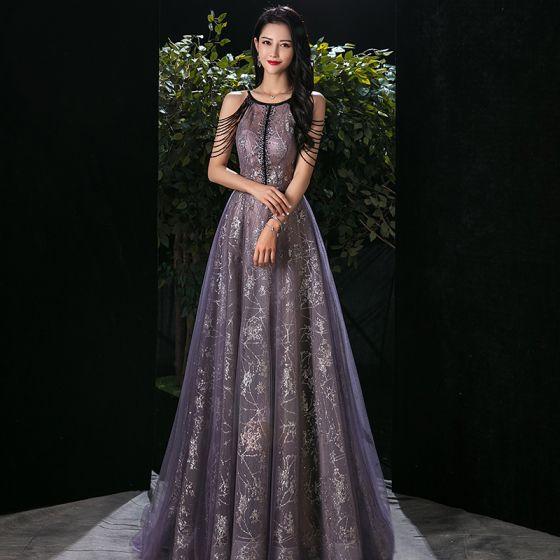Mode Grape Transparentes Robe De Soirée 2020 Princesse Encolure Dégagée Sans Manches Perlage Appliques Paillettes Longue Volants Dos Nu Robe De Ceremonie