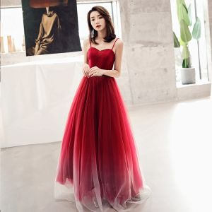 Elegant Burgundy Evening Dresses  2019 A-Line / Princess Spaghetti Straps Sleeveless Rhinestone Metal Sash Floor-Length / Long Ruffle Backless Formal Dresses