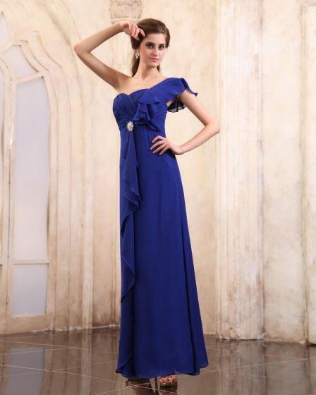 Blue Sleeveless Chiffon Beading Ruffles One Shoulder Floor Length Evening Party Dresses
