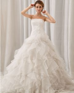 Elegant Solid Layered Strapless Back Zipper Court Train Organza Lace Ball Gown Wedding Dress