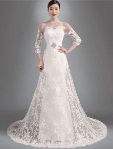 2015 Elegant A-linie Prinzessin Schultern 3/4 Ärmel Bestickte Organza Brautkleid