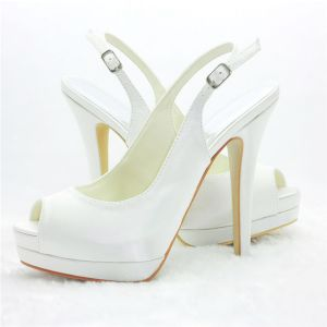 White Slingbacks Peep Toe Bridal Shoes Stilettos High Heel Pumps