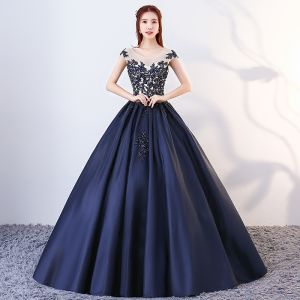 Vintage / Retro Navy Blue Quinceañera Prom Dresses 2018 Ball Gown Appliques Beading Scoop Neck Backless Sleeveless Floor-Length / Long Formal Dresses