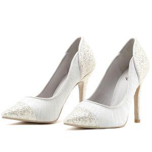 Chic / Belle Blanche Chaussure De Mariée 2019 Cuir En Dentelle Paillettes 8 cm Talons Aiguilles À Bout Pointu Mariage Escarpins