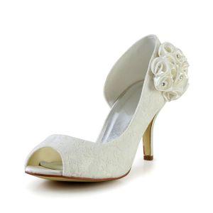 Elegante Ivory Brautschuhe Peeptoe Stilettos Spitze Pumps Mit Blume