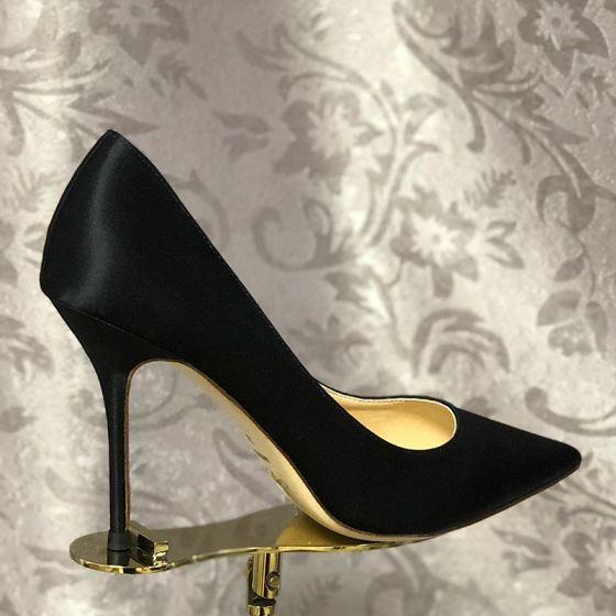 Elegant Black Cocktail Party Leather Satin Pumps 2020 10 cm Stiletto Heels Pointed Toe Pumps