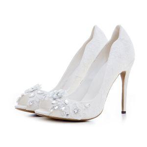 Encantador Blanco Zapatos de novia 2020 Rhinestone Con Encaje Flor 12 cm Stilettos / Tacones De Aguja Peep Toe Boda Tacones