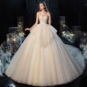 Charming Champagne Wedding Dresses Ball Gown 2020 Strapless Lace Sequins Sleeveless Backless Royal Train