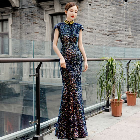 Sparkly Multi-Colors Sequins Cheongsam / Qipao 2020 Trumpet / Mermaid High Neck Appliques Embroidered Sleeveless Floor-Length / Long Formal Dresses