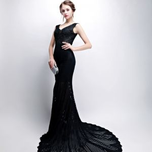Modern / Fashion Black Evening Dresses  2017 Trumpet / Mermaid V-Neck Lace Embroidered Striped Backless Evening Party Formal Dresses