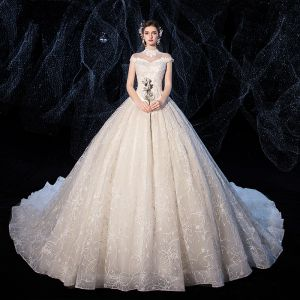 Charming Champagne Wedding Dresses 2020 Ball Gown High Neck Beading Lace Flower Cap Sleeves Backless Cathedral Train