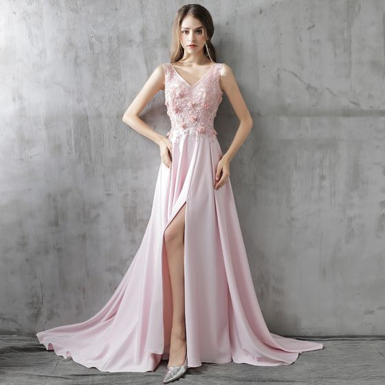 Modern / Fashion Evening Dresses  2017 Blushing Pink A-Line / Princess Court Train Cascading Ruffles Split Front V-Neck Sleeveless Backless Crystal Sequins Appliques Flower Formal Dresses