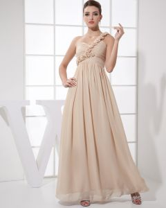 Sweetheart Flower Pleated Sleeveless Zipper Floor Length Chiffon Silk Woman Bridesmaid Dress