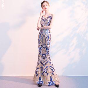 Charmant Königliches Blau Champagner Abendkleider 2018 Meerjungfrau Pailletten V-Ausschnitt Rückenfreies Ärmellos Lange Festliche Kleider
