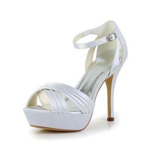 Moda Białe Buty Ślubne Satynowe Platformy Szpilki Ruffle Sandały Z Paskiem Na Kostce
