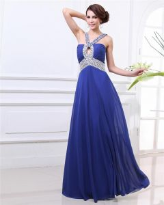 V Neck Beading Pleated Floor Length Chiffon Woman Prom Dress