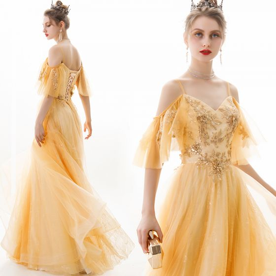 Chic / Beautiful Gold Evening Dresses  2019 A-Line / Princess Spaghetti Straps Sequins Lace Flower Short Sleeve Backless Floor-Length / Long Formal Dresses